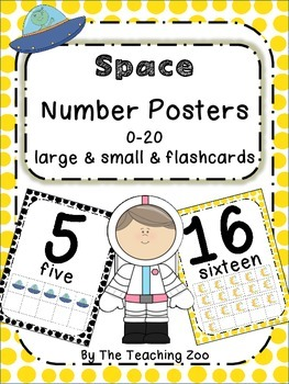 Space Theme Number Posters 0-20 - Large, Small & Flashcards