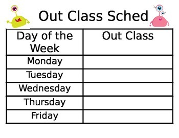 Space Theme Out Class Schedule