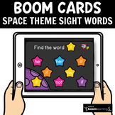 Space Theme Sight Words Cards 30 Boom Cards for Distance Learning
