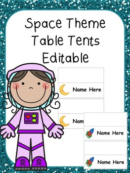 Space Theme Table Tents (Editable)