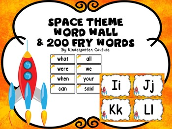 Space Theme Word Wall & 200 Fry Words -Editable