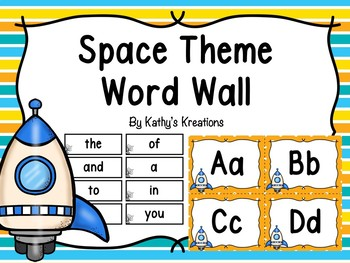Space Word Wall And 200 Fry Words Editable