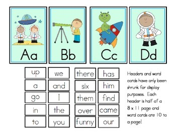 Space Theme Word Wall Headers and Sight Words