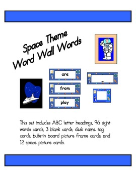 Space Theme Word Wall Words