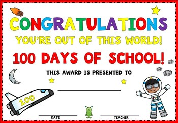 Space Themed 100 Days Certificates