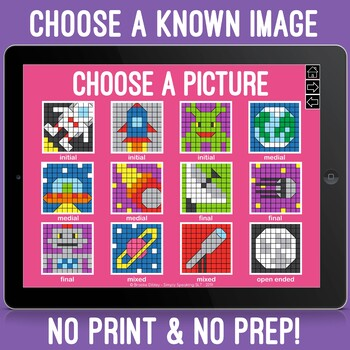 Space Themed 100 Trials No Print Symbol Hidden Images Game for Speech & Artic