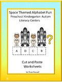 Space Themed Alphabet Fun NO PREP Cut and Paste Literacy Center Printables