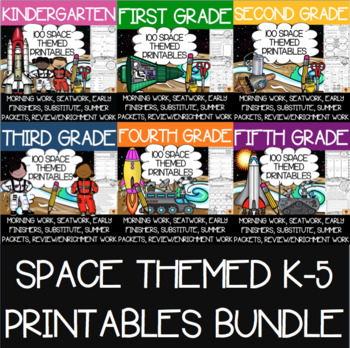 600 K-5 Space Themed Anytime Printables Bundle