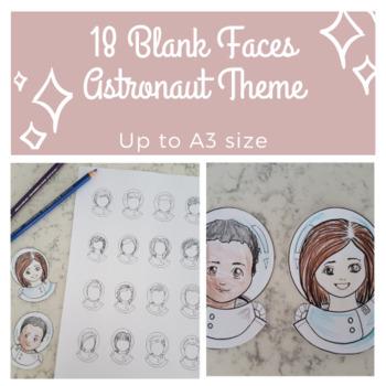 Space Theme Astronaut Blank Faces Template - 18 unique styles