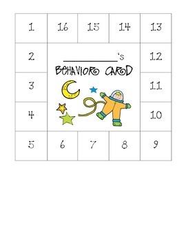 Space Themed Behavior Card
