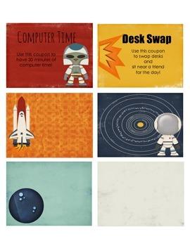 Space Themed Behavior Reward Coupons