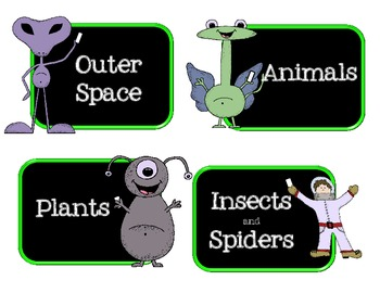 Space Themed Book Bin Labels