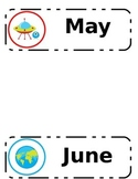 Space Themed Calendar Months Labels