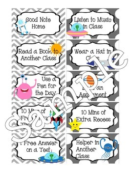 Space Themed Classroom Behavior Coupons