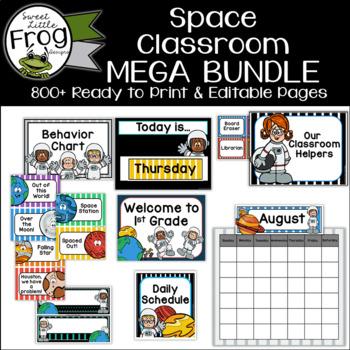 Space Themed Classroom Decor Bundle - Editable