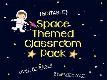 EDITABLE Space Themed Classroom Set