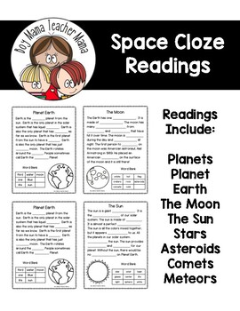 Space Themed Cloze Readings