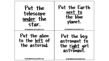 Space Themed Direction Following Task Cards
