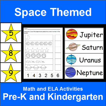 Space Themed ELA, Math and Science Activities for Pre-K and Kindergarten