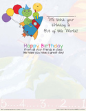 Space-Themed Happy Birthday Class Card