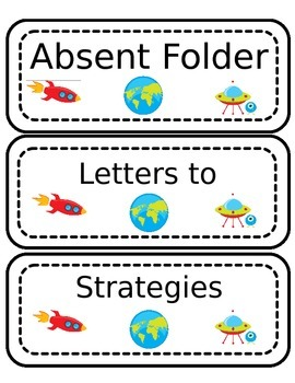 Space Themed Labels for Folders and Binders
