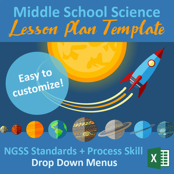Space Themed Lesson Plan Template | Middle School NGSS | Excel