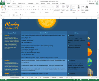 Space Themed Lesson Plan Template   Middle School NGSS   Excel