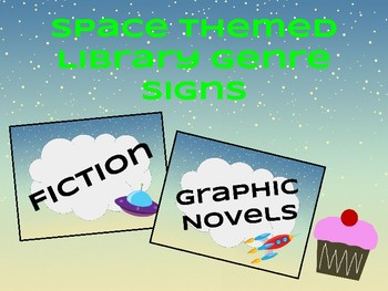 Space Themed Library Genre Signs