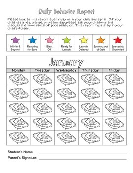 Space Themed Monthly Behavior Reports