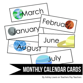 Space-Themed Monthly Calendar Cards