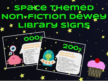 Space Themed Non-Fiction Dewey Library Signs
