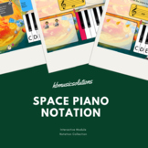 Space Themed Piano Notation (Treble Clef) Interactive Activities