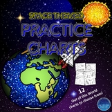 Space Themed Practice Chart Sheets