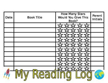 Space Themed Reading Log