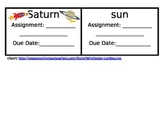 Space Themed Reading Small Group Assignments