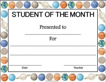 Space Themed Student of the Month Certificates