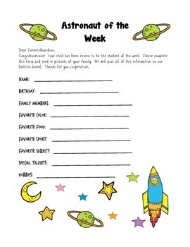 Space Themed Student of the Week