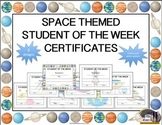 Space Themed Student of the Week Certificates