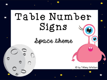 Space Themed Table Number Signs