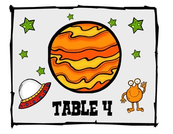 Space Themed- Table numbers and nameplates