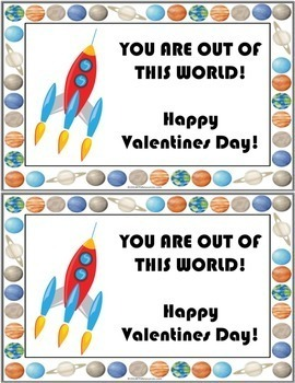 Space Themed Valentine Cards