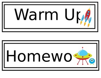 Space Themed Warm Up, Exit Ticket, Homework, and Extra Seatwork Signs