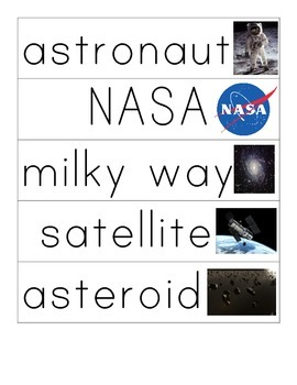 Space Themed Word Cards