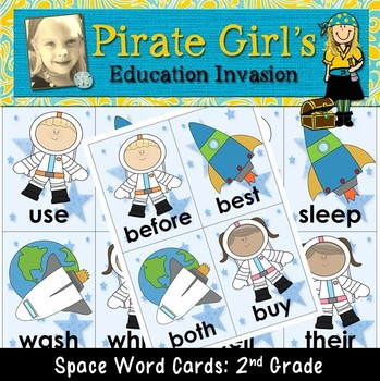 Space Themed Word Cards (dolch 2nd grade)