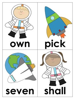 Space Themed Word Cards (dolch 3rd grade)