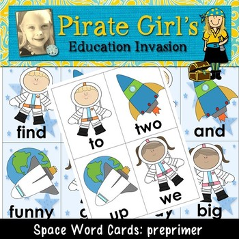Space Themed Word Cards (dolch preprimer)