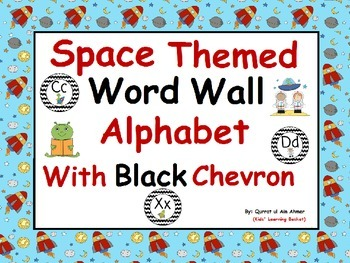 Space Themed Word Wall Alphabet with Black Chevron: