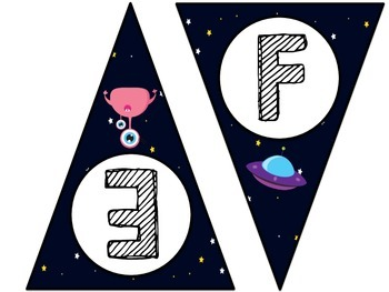 Space Themed Word Wall Letter Pennant