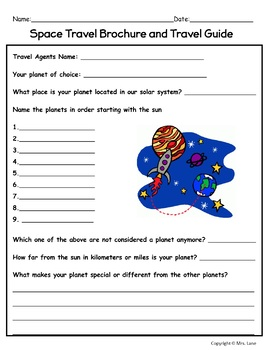 Create a Space Travel Brochure and Travel Guide Activity