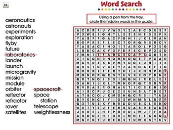 Space Travel & Technology: Word Search - MAC Gr. 5-8